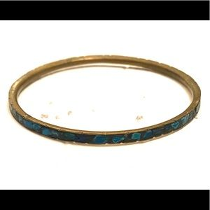 Turquoise inlaid brass bangle bracelet boho